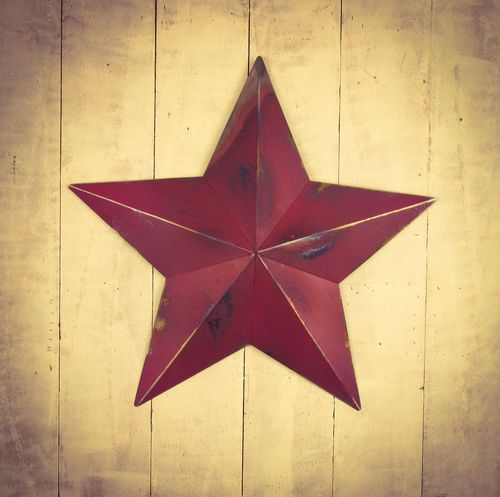 "Huge Metal 22"" Berry Red Amish Barn Star"